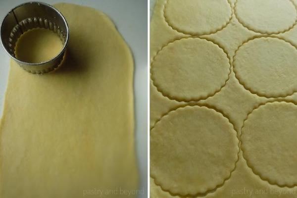 Steps of Making Olive Oil Crackers: Rolling out the dough and cutting circles.