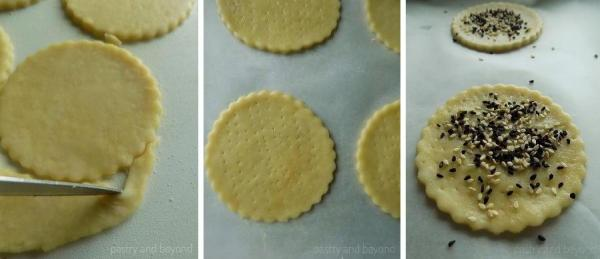 Steps of Making Olive Oil Crackers: Olive oil brushed and nigella -sesame seeds sprinkled dough ready to bake.