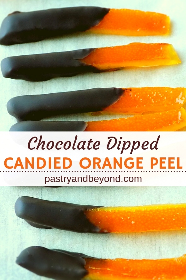 Chocolate Dipped Candied Orange Peels with text overlay.