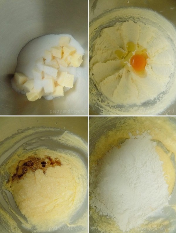 Step by Step Pictures of Swirl Cookie Dough: Sugar and butter in a mixer bowl in the first photo, egg is added to the creamed butter and sugar in the second photo, vanilla is added in the third photo and flour is added in the fourth photo.