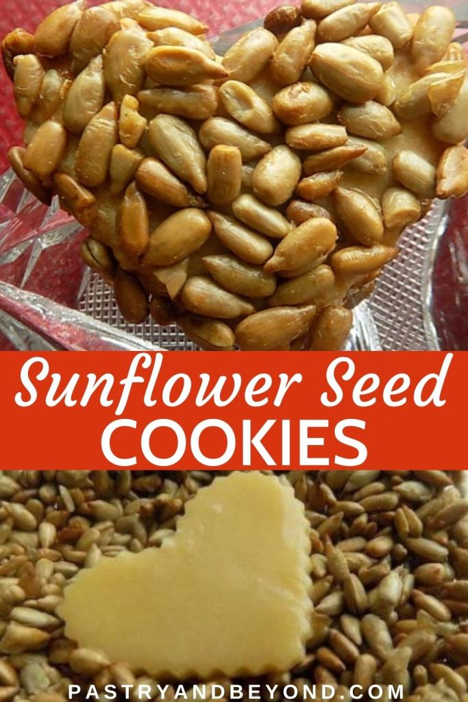 Heart shaped cookie covered with sunflower seeds.