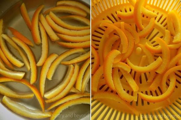 Orange peels in a pan covered with water and then drained to remove the bitter taste while making candied orange peels.