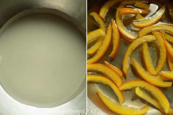 Sugar and water in a pan to make a syrup. Orange peels and lemon juice are added into the pan.