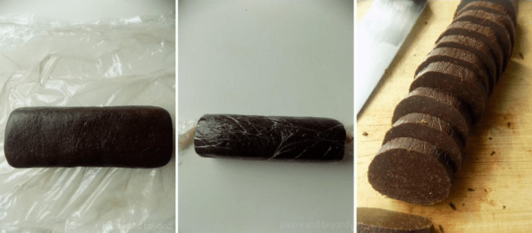 Step by Step Pictures of Chocolate Orange Cookies: Making log out of the dough in the first and second photo, and slicing the dough in the third photo.