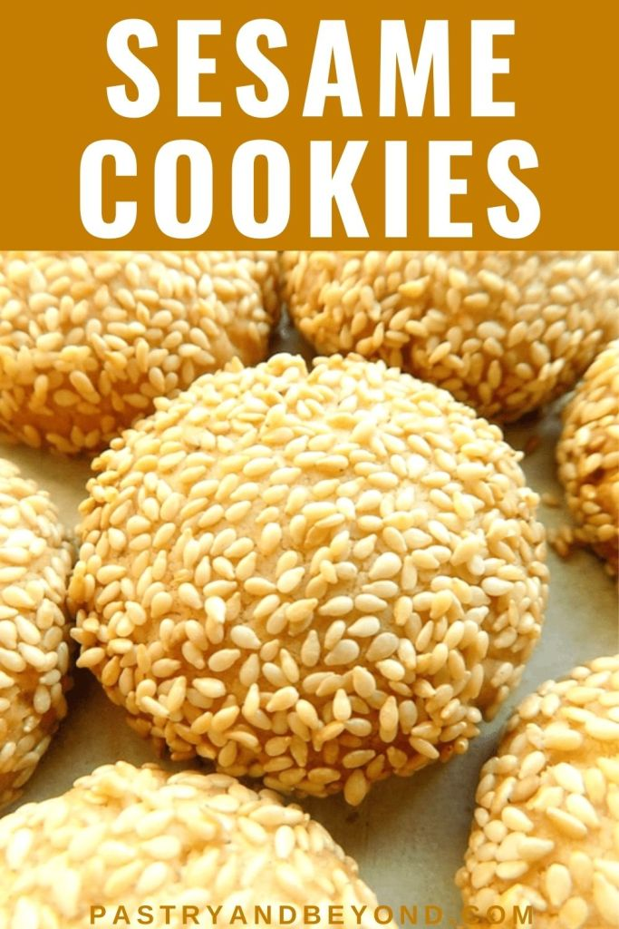 Sesame cookies on a white surface with text overlay.