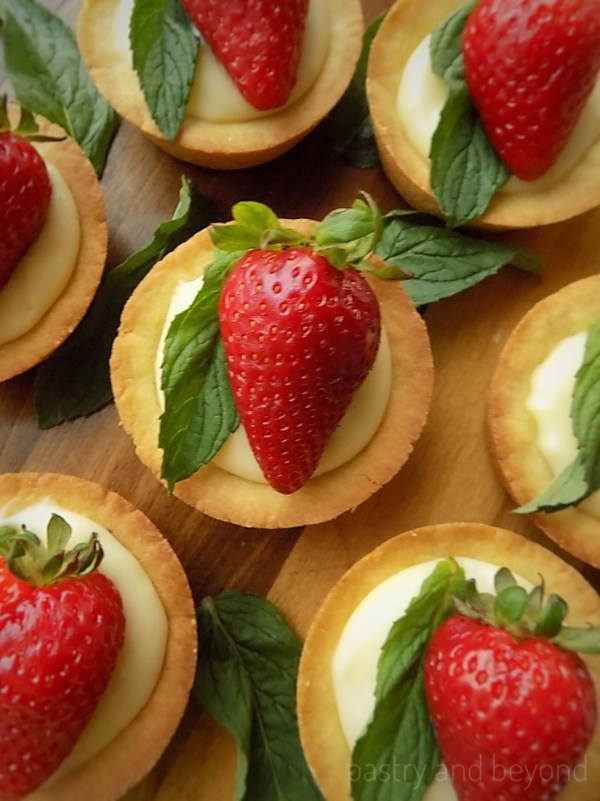 Pastry Cream filled Cookie Cups with Strawberry and Mint