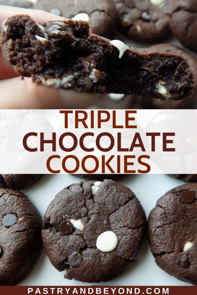 Collage of hand holding half of a triple chocolate chip cookie and cookies on a white surface.