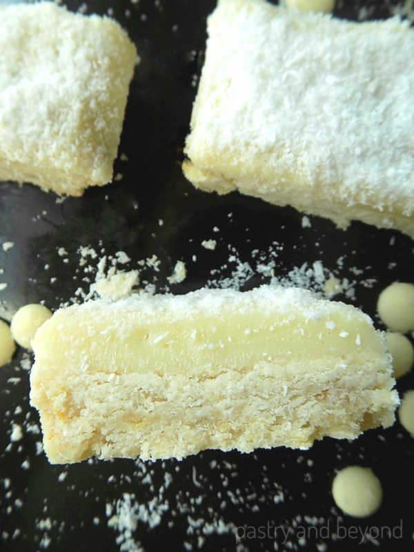 Sliced Lemon and Coconut Bars with White Chocolate