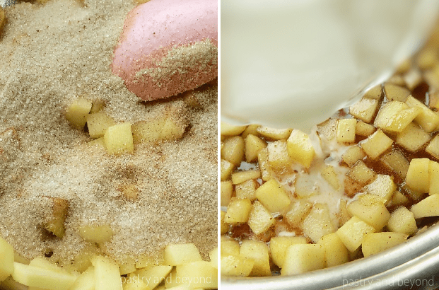 Sugar mixture is added to the sauteed apples and when sugar is caramelized cornstarch is added.