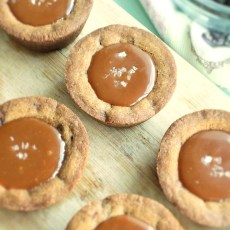Salted Caramel Filled Chocolate Chip Cookie Cups