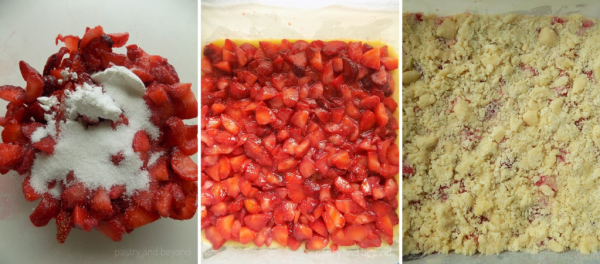 Steps of Making Strawberry Crumble Bars: Tossing strawberries with sugar and cornstarch. Covering the crust with strawberry mixture and adding the crumbles on top.