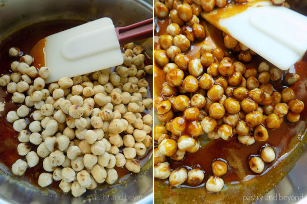 How To Make Hazelnut Praline-Adding the hazelnuts into the caramelized sugar and mixing well with a heat proof spatula.