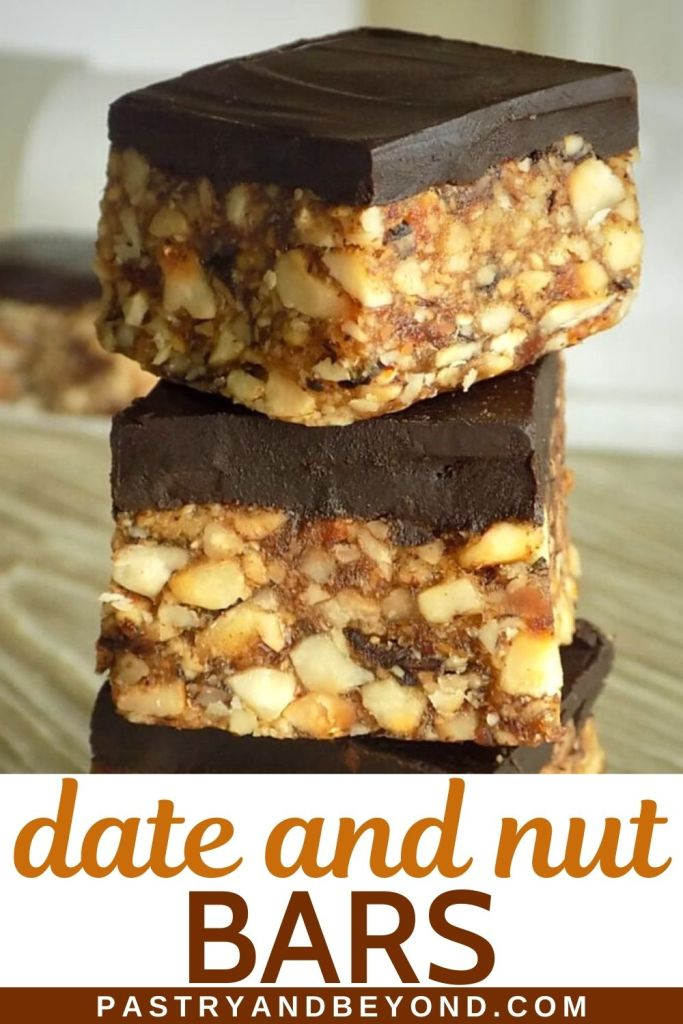 Stacked chocolate date nut bars.