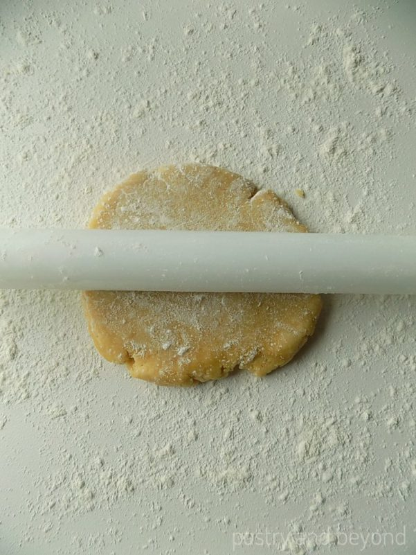 Steps of Making Crunchy Savory Cookies: Placing the dough onto a lightly floured work surface.