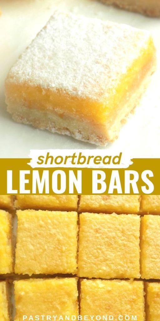 Lemon curd bars with text overlay.