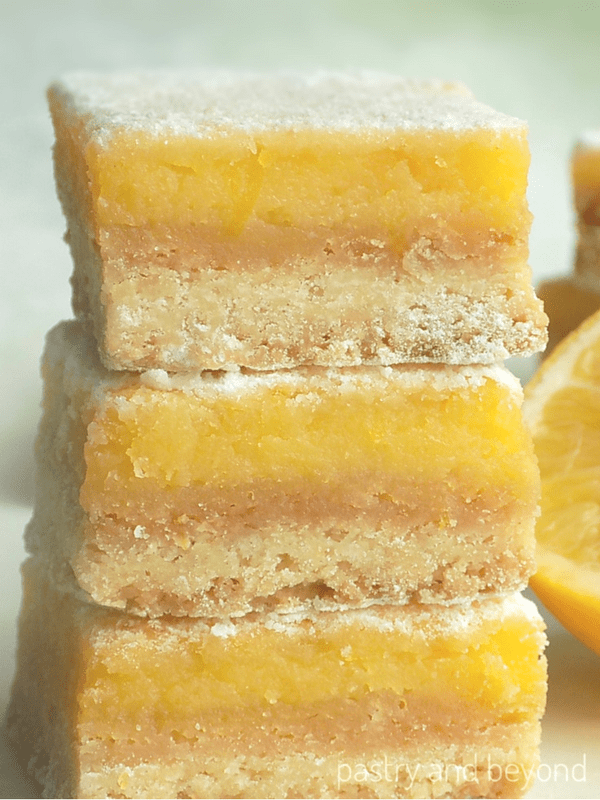 lemon bars with lemon curd