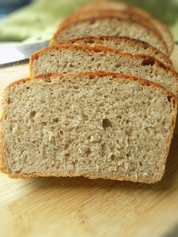 No-Knead Whole Wheat Bread slices