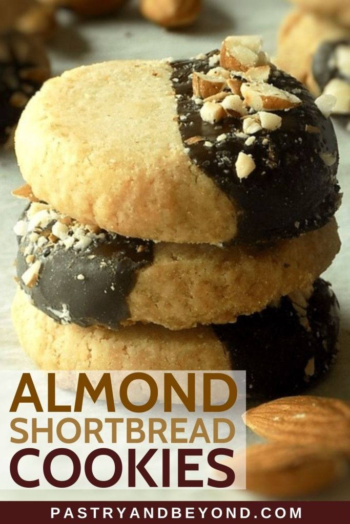 Stacked almond shortbread cookies.