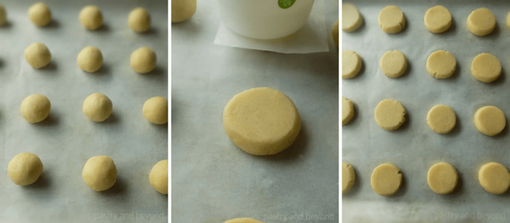 Rolling the dough into balls, flattening with a measuring cup. Flattened balls on a parchment paper.
