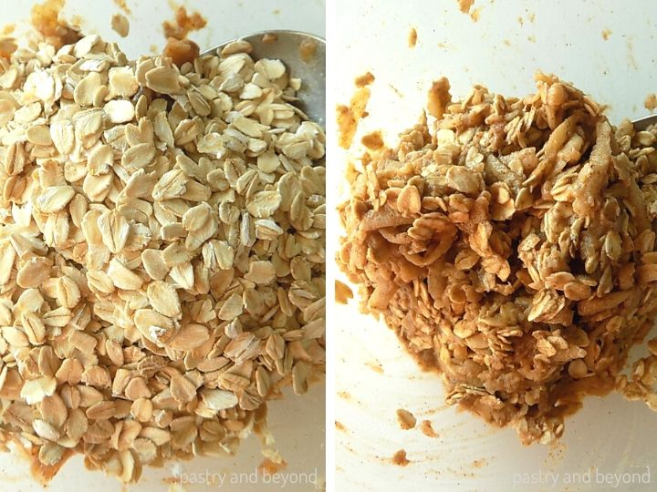 Step by Step Healthy Apple Cookies:Adding the oatmeal and mixing.