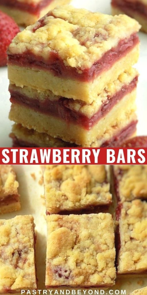 Stacked and overhead view of strawberry crumble bars with text overlay.