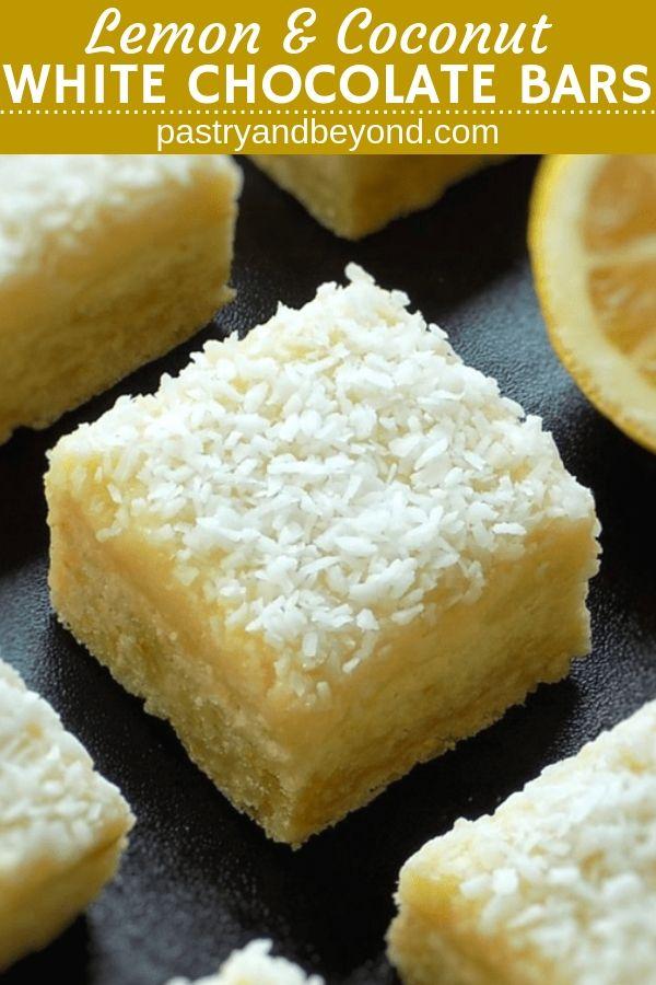 Lemon Coconut Bars with White Chocolate Ganache