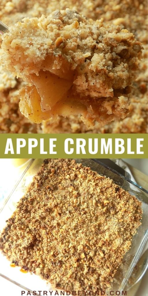 Apple crumble with text overlay.