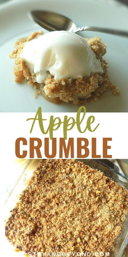 Overhead view of apple crumble and a slice of apple crumble with ice cream in on top.