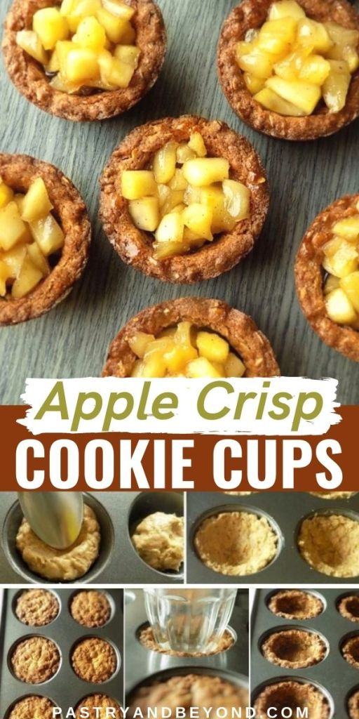 Apple crisp cookie cups and step by step photos.