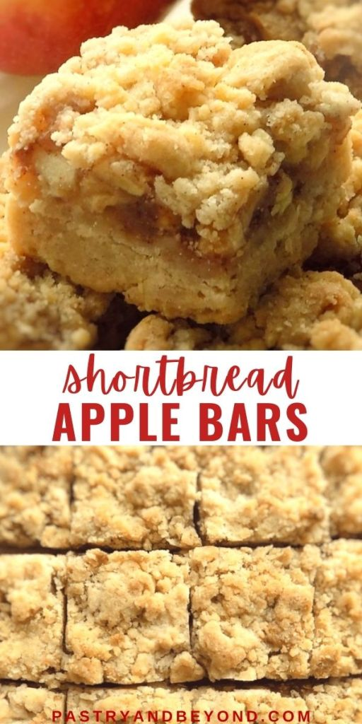 Apple crumble bars with text overlay.
