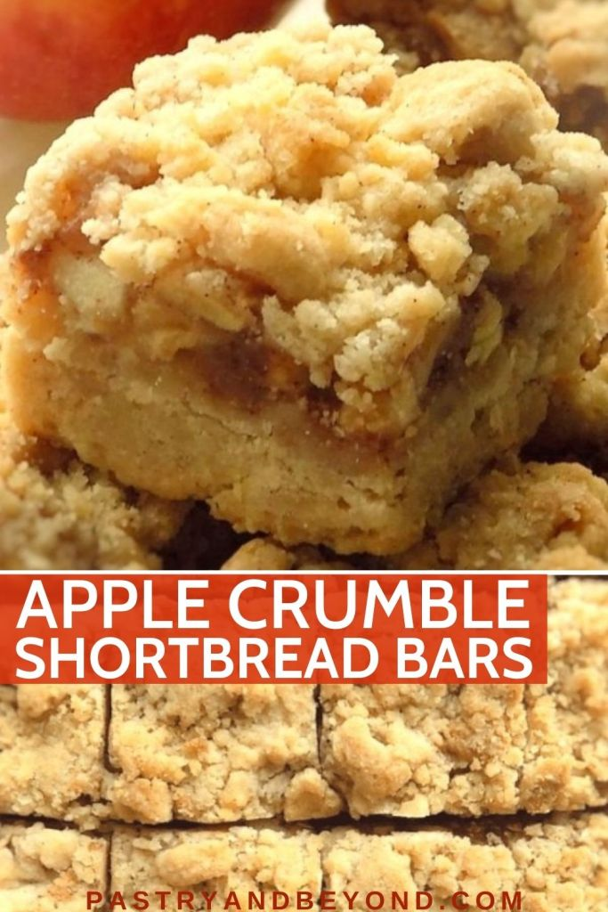 Collage of apple bars with text overlay.
