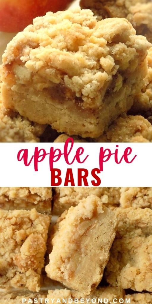 Apple pie bars with text overlay.