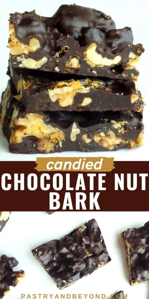 Stacked and overhead view of candied chocolate nut bark.