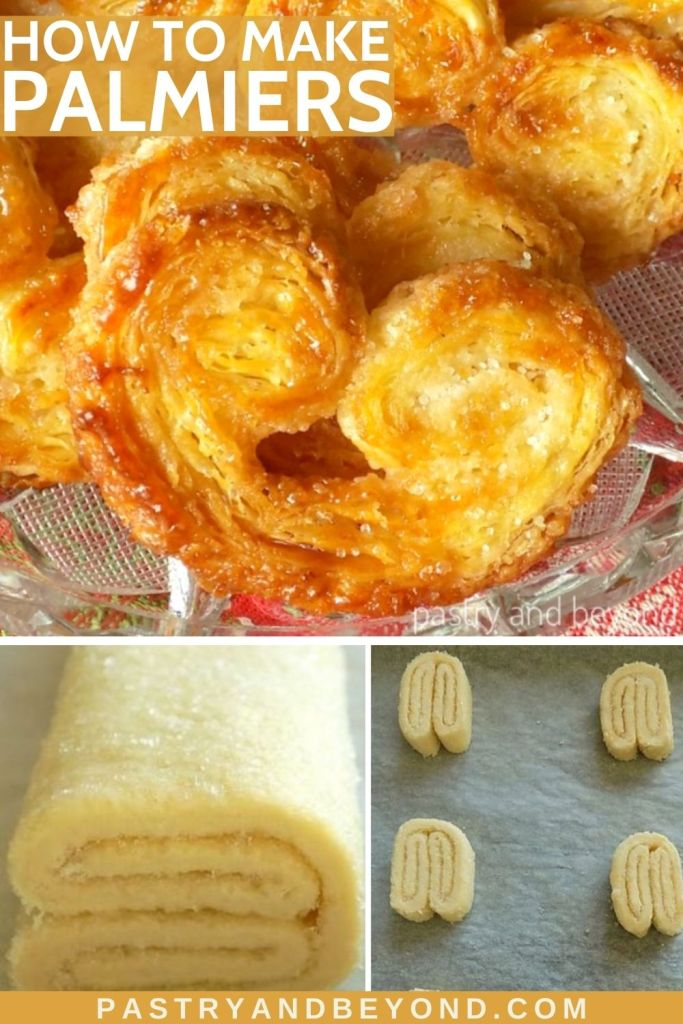 Collage of palmier cookies and steps for making them.