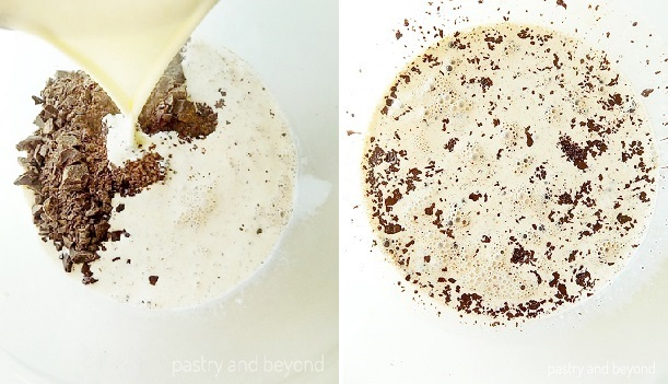 Pouring the heavy cream over chopped chocolate in the first picture. The mixture staying in a glass bowl to soften in the second picture.
