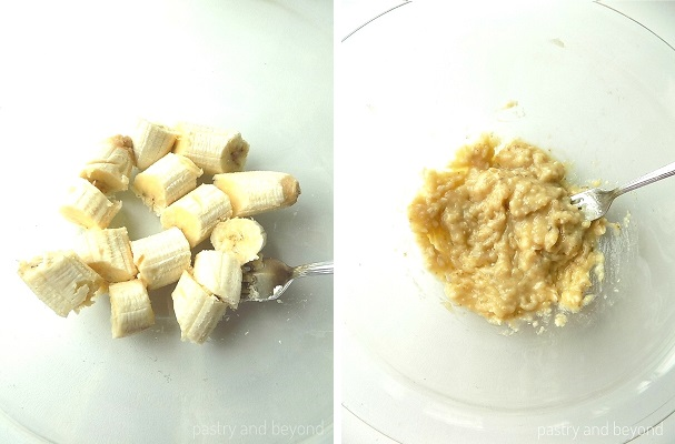 Mashing the sliced bananas with a fork.