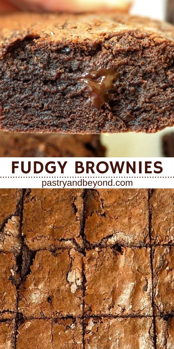 Collage for chocolate brownies with text overlay.