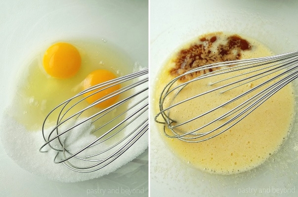 Step by Step Pictures of Brownie Batter: Sugar and eggs in a bowl with a whisk, vanilla is added into the mixture.