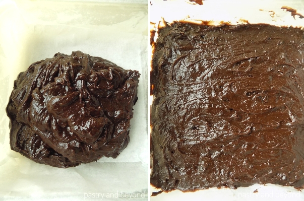 Brownies batter that is spread into the dish