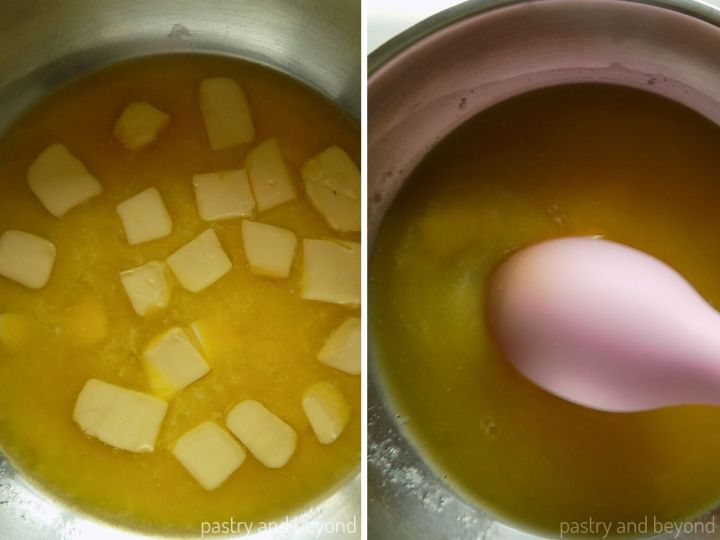 Butter in a pan with a pink spoon spatula to be used in brownie batter.