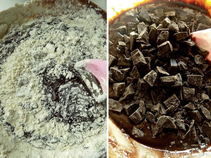 Collage of adding flour and chocolate chunks into the mixture and stirring.