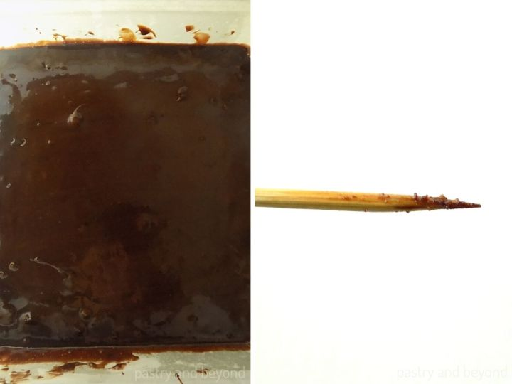 Brownie batter in a pan and a toothpick with wet crumbs after the brownie is baked.