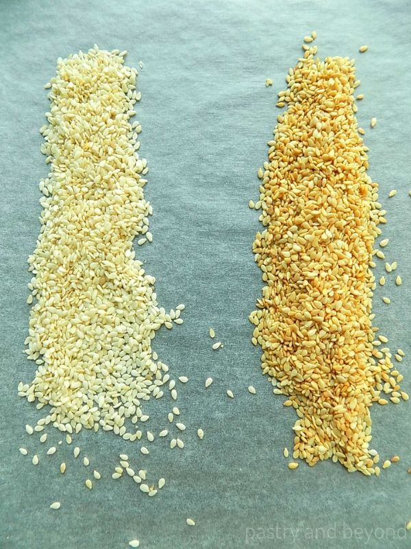 Sesame seeds before and after toasted