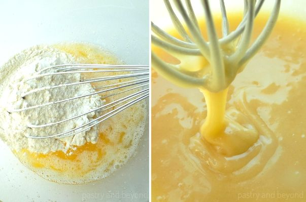 Step by Step Pictures of Tuile Cookies: Mixing the butter and flour with a whisk. The batter dripping from the whisk.