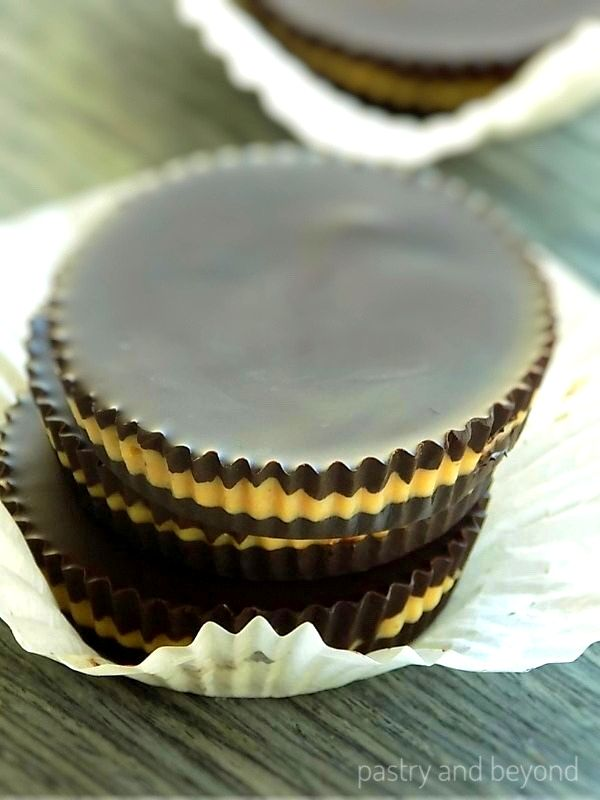 Stacked dark chocolate peanut butter cups