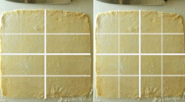 Example of how to cut square dough into 16 mini squares with white lines.