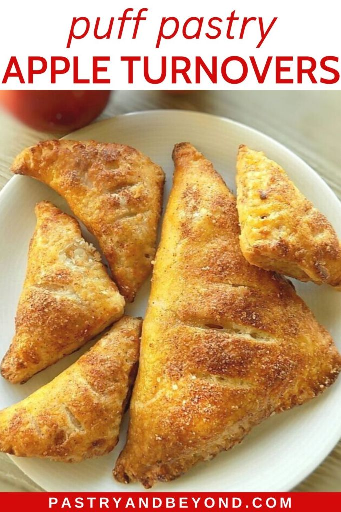 Pin of one large and 4 small apple turnovers on a white plate.