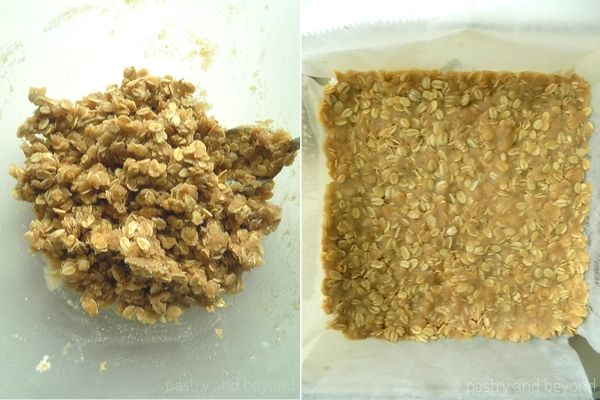 Caramel Apple Bars step by step picture: Placing the dough into an oven proof dish.