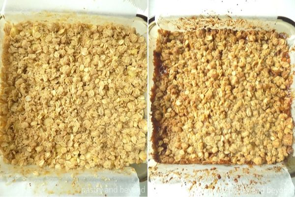 Caramel apple bars before and after baking.