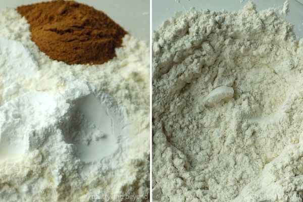 Mixing the flour, cinnamon, baking powder and salt in a bowl.